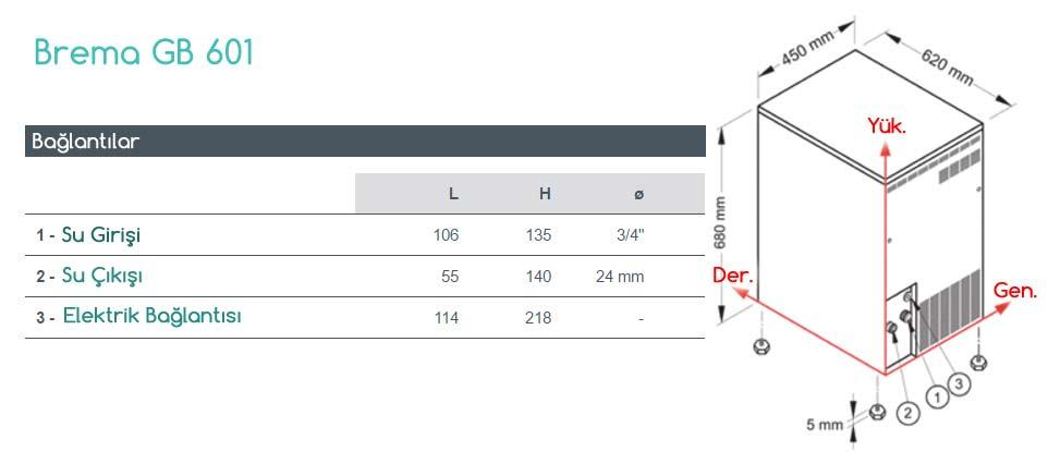 GB 601 buz yapma makinesi teknik detaylar